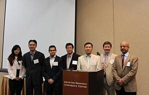 RheoSense and Speakers. Left to right: Grace, Dr. Ying-Chih Wang, Dr. Rajib Ahmed, Vitus Lau, Dr. Seong-Gi Baek, Dr. Gareth H. McKinley (MIT), and Dr. Jai Pathak (MedImmune)